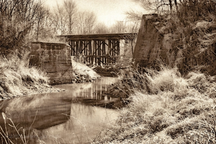 Burned and Abandoned Wooden Bridge