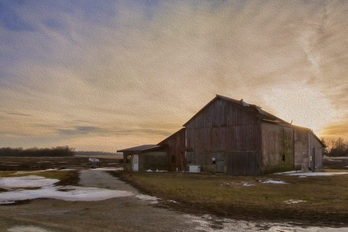 Barn under a Sunset Sky