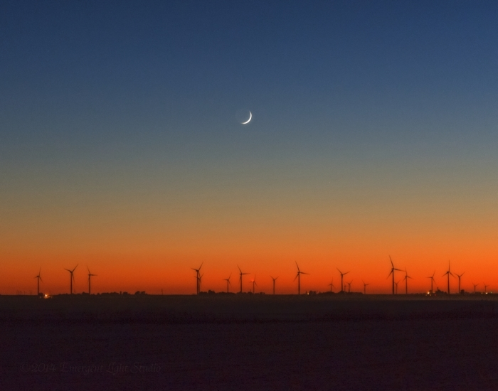 Crescent Moon over Rural Windfarm