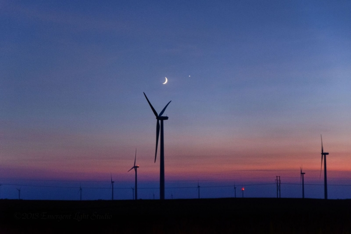 Moon Venus Conjunction over Prairie Wind Farm