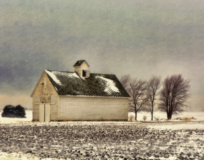 Winter at a Corn Crib in the Midwest