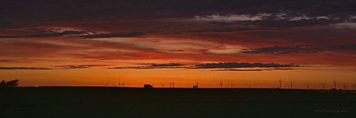 Twilight near a Rural American Windfarm