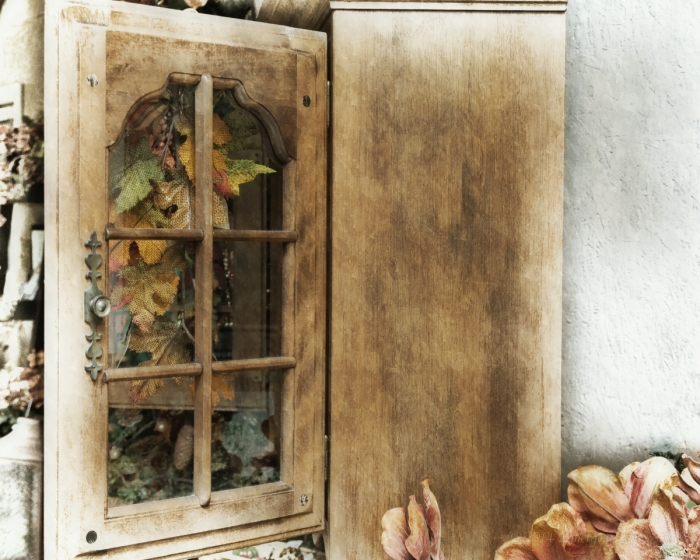 Cabinet with Fall Decorations