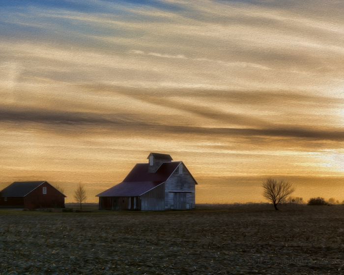 Almost Sunset on a Prairie Farm