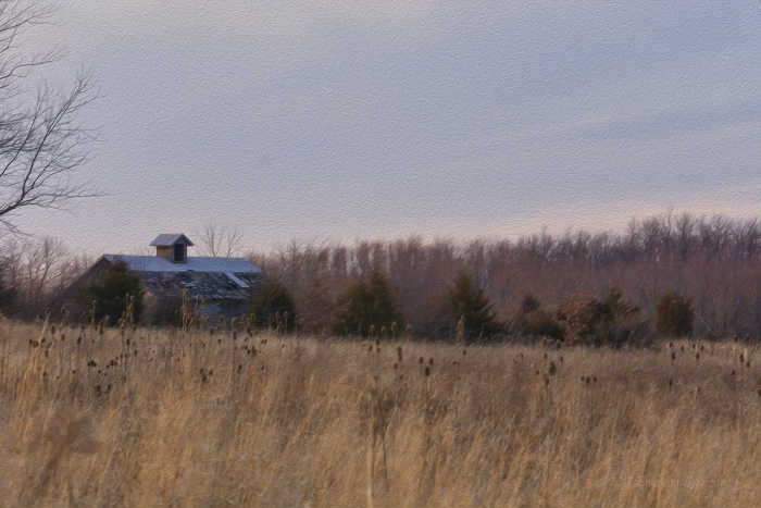 Corn Crib in a Prairie Field