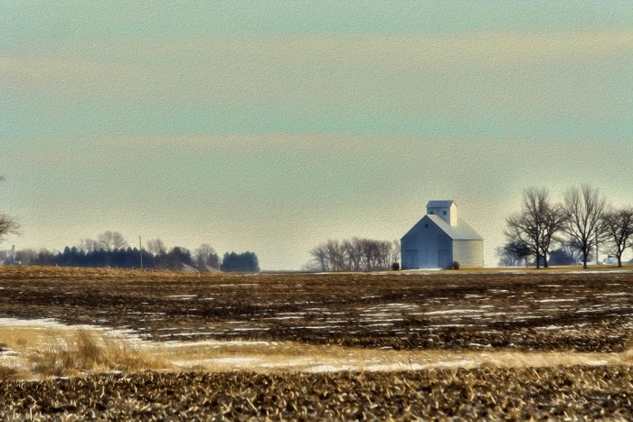 Field and Corn Crib in Winter