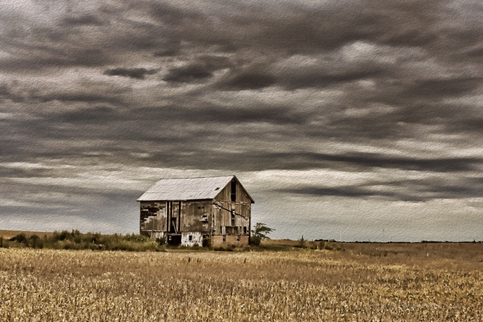 Old Barn under a Stormy September Sky