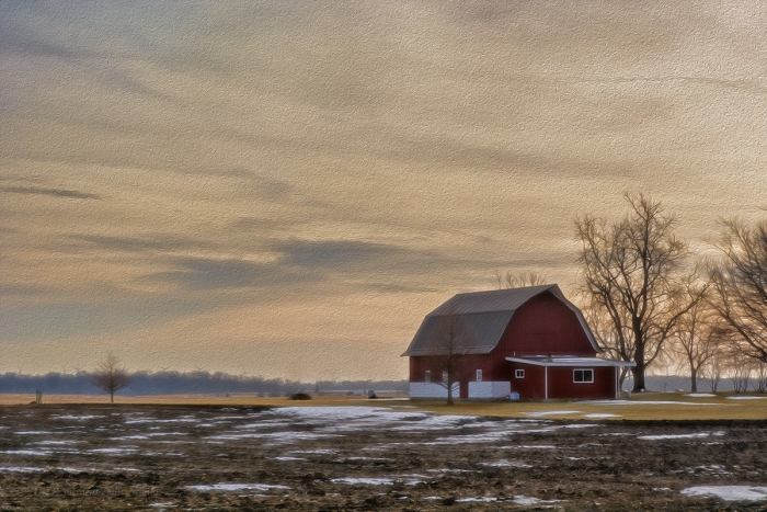 Prairie Barn on a Late Winter Afternoon