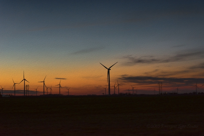Prairie Wind Turbines at Twilight