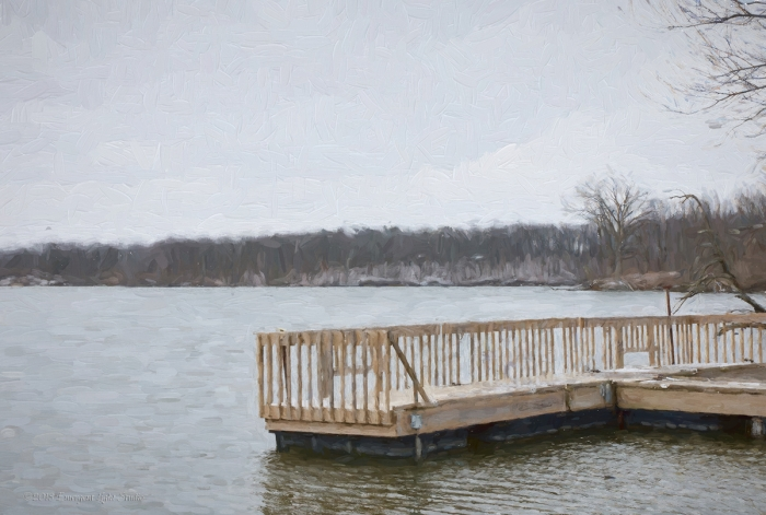 Riverside Dock on a Snowy Day