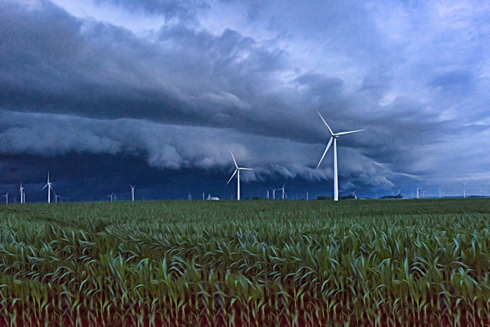 Storms over a Prairie Wind Farm