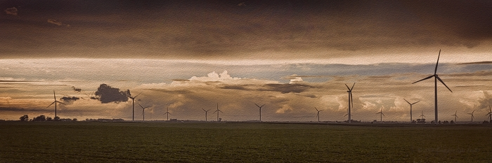 Stormy Day at a Prairie Wind Farm