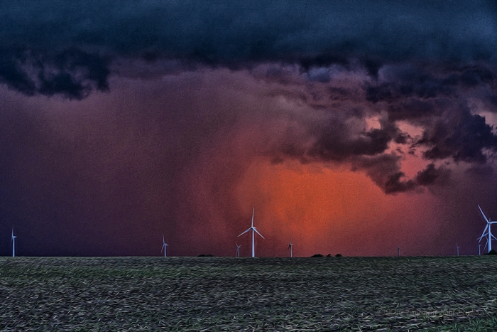 Sunset Storms at a Prairie Wind Farm