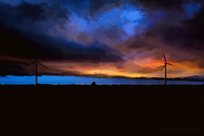 Wind Turbines under a Sunset Storm