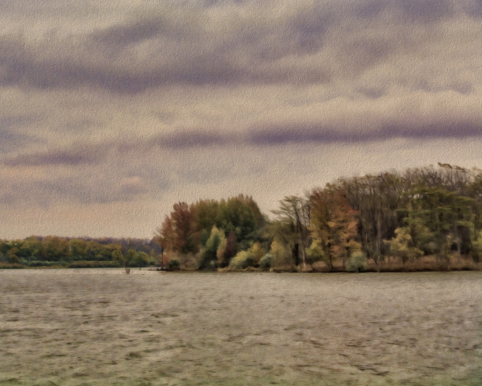 Windy Fall Day by a Prairie Lake