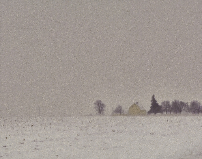 Yellow Barn in a Prairie Snowstorm